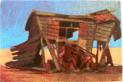 oil on linen beach shed dungeness