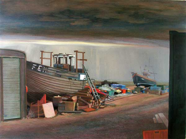 Fishing boats a large painting of Dungeness beach Kent