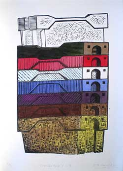 Lino cut print hand coloured fishbox stack