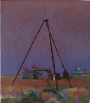 Dungeness beach UK, Oil painting of holed fishing boat