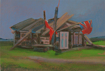 Painting on linen , Wooden play house on the beach at Dungeness in Kent UK