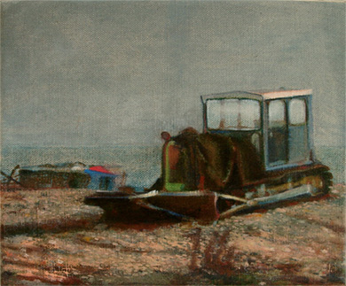 Wistful oil painting of a fishing tractor