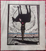 Dungeness art, Paddy Hamilton, Dungeness beach Studio 2, Man and Bull, Linocut, print