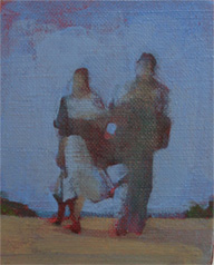 little couple figurative painting on Dungeness beach oil and beeswax on linen
