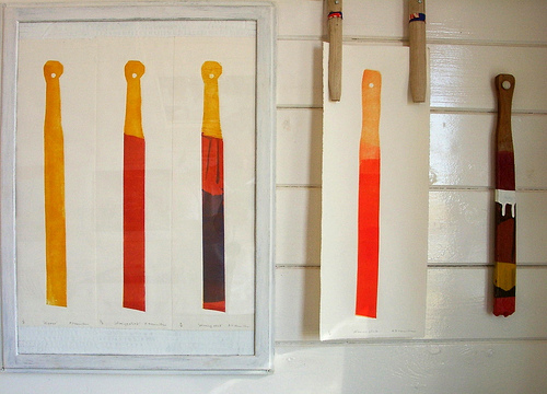 mono print, stirring sticks, monoprint, linocut print, dippers, print series, prints, dungeness open studios