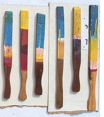 mono print, stirring sticks, blanks, linocut print, dippers, print series, prints
