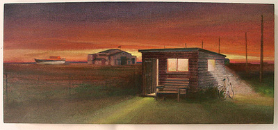 Dungeness shed night painting