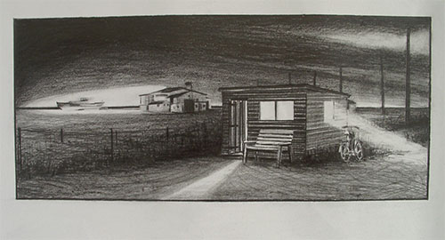 Wooden shed graphite in the nighdrawing Dungeness beach