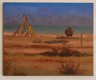 Inconsequential composition on the beach painting Dungeness Beach