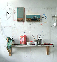 In the studio at Dungeness open studios