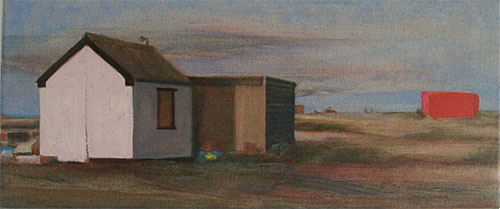 Landscape oil painting of evening long light illuminating structures with pinkish light on the beach at Dungeness in Kent