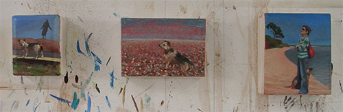 Small commissioned paintings Lucky dog of destiny on Dungeness beach
