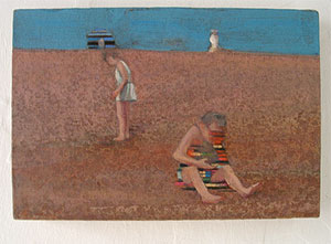 oil on linen - Couple on the beach dungeness