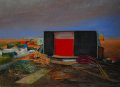 Colourful oil painting of a Royal Mail container on the beach at Dungeness