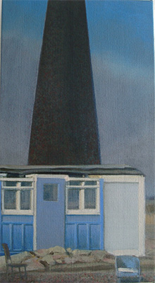 Diptych oil painting of an Edwardian carriage Dungeness beach