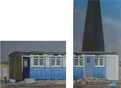 Diptych painting of an Edwardian carriage Dungeness beach oil on canvas