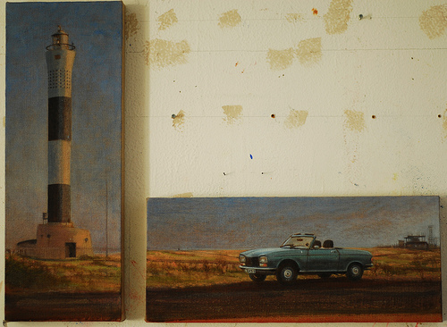 Peugeot Pippy 304S Lighthouse oil painting Dungeness Kent U.K.