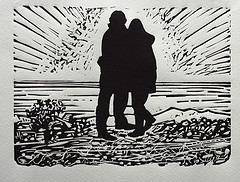 The point, linocut print Dungeness beach