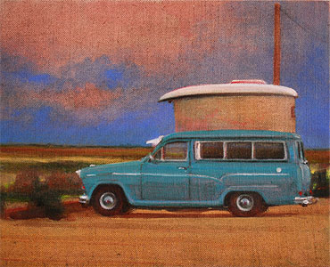 Colourful oil painting of an Austin A60 stealth camper on the beach at Dungeness