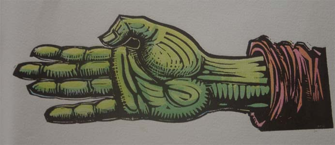 Lino cut of the Green Hand on quality paper