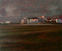 Night painting of Dungeness beach Kent