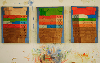 Stack paintings Dungeness fishboxes