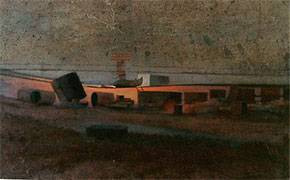 Beached boat a large painting of Dungeness beach