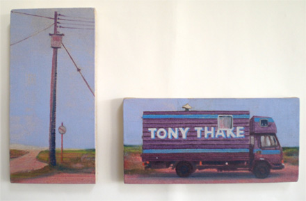 Diptych a figurative oil painting of a Bedford living wagon under a characterful pylon on the beach at Dungeness