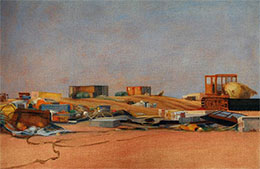 oil on linen -  	Trove beach detritus painting Dungeness