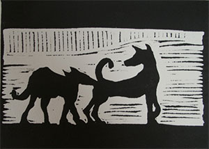Linocut Wolves sniffing